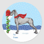 Great Dane Christmas Mail Black UC Gift Tags Round Sticker