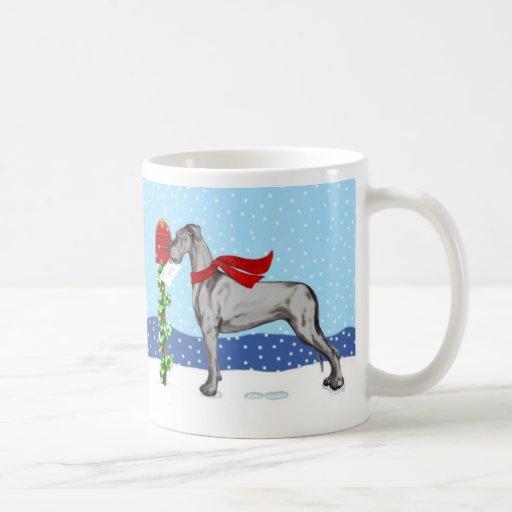 Great Dane Christmas Mail Black UC Mug