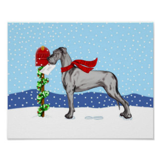 Great Dane Christmas Mail Black UC Poster
