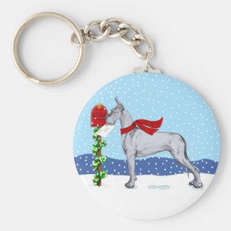 Great Dane Christmas Mail Blue Keychain