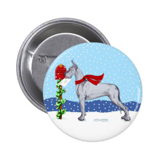 Great Dane Christmas Mail Blue Pinback Button