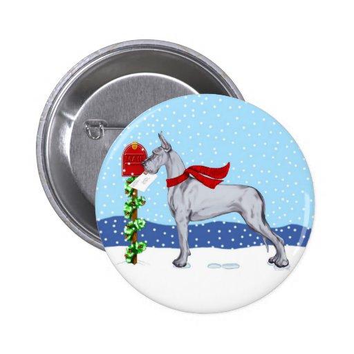 Great Dane Christmas Mail Blue Pinback Button