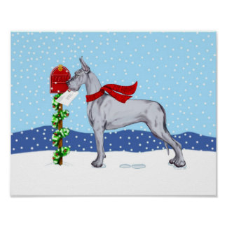 Great Dane Christmas Mail Blue Poster