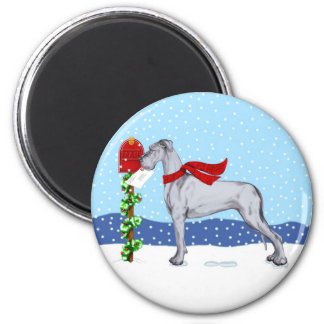 Great Dane Christmas Mail Blue UC 2 Inch Round Magnet