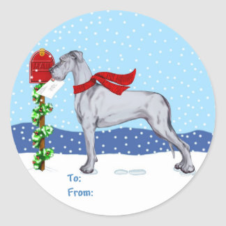 Great Dane Christmas Mail Blue UC Gift Tags Classic Round Sticker