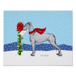 Great Dane Christmas Mail Blue UC Poster