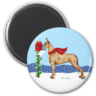 Great Dane Christmas Mail Brindle 2 Inch Round Magnet