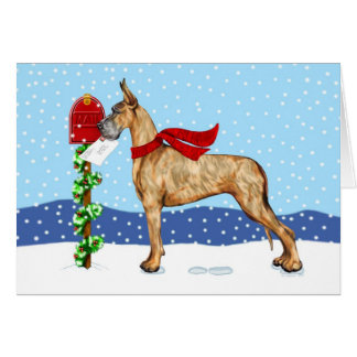 Great Dane Christmas Mail Brindle Card
