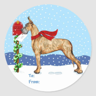 Great Dane Christmas Mail Brindle Gift Tags Classic Round Sticker