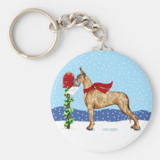 Great Dane Christmas Mail Brindle Keychain