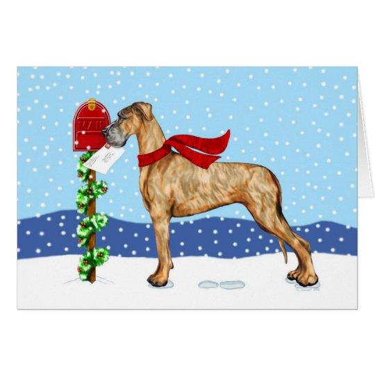 Great Dane Christmas Mail Brindle UC Card