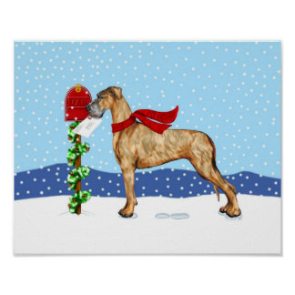 Great Dane Christmas Mail Brindle UC Poster