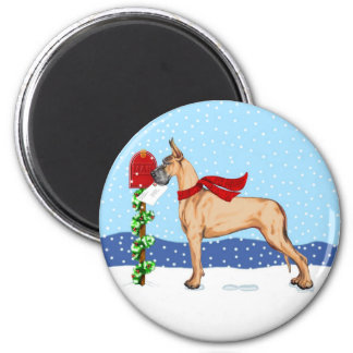 Great Dane Christmas Mail Fawn 2 Inch Round Magnet