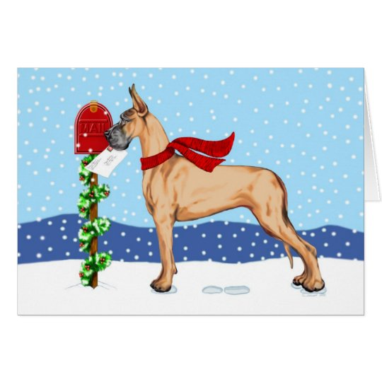 Great Dane Christmas Mail Fawn Card