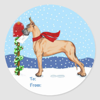 Great Dane Christmas Mail Fawn Gift Tags Round Sticker