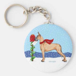 Great Dane Christmas Mail Fawn Keychain