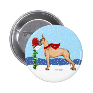 Great Dane Christmas Mail Fawn Pinback Button
