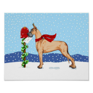 Great Dane Christmas Mail Fawn Poster