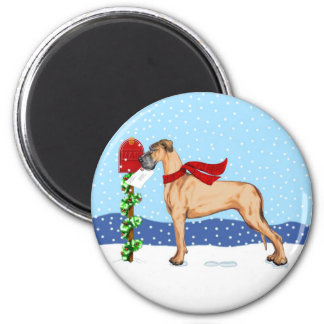 Great Dane Christmas Mail Fawn UC 2 Inch Round Magnet