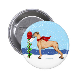 Great Dane Christmas Mail Fawn UC Button