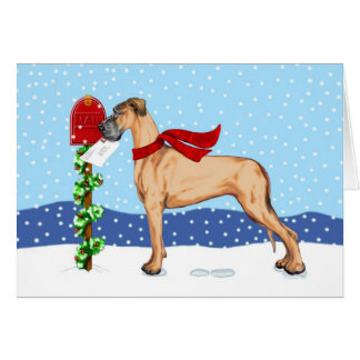 Great Dane Christmas Mail Fawn UC Card