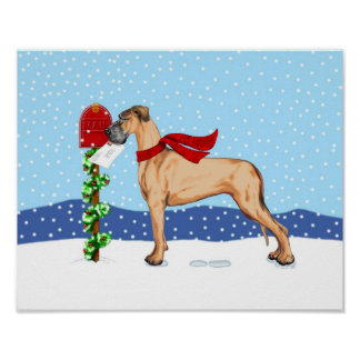 Great Dane Christmas Mail Fawn UC Poster