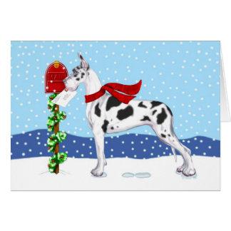 Great Dane Christmas Mail Harlequin Card