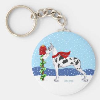 Great Dane Christmas Mail Harlequin Keychain
