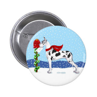 Great Dane Christmas Mail Harlequin Pinback Button