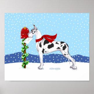 Great Dane Christmas Mail Harlequin Poster