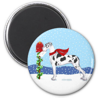 Great Dane Christmas Mail Harlequin UC 2 Inch Round Magnet