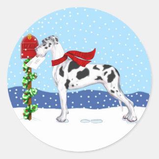 Great Dane Christmas Mail Harlequin UC Classic Round Sticker