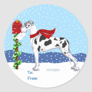 Great Dane Christmas Mail Harlequin UC Gift Tags Round Stickers