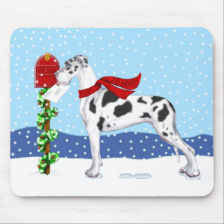Great Dane Christmas Mail Harlequin UC Mouse Pad