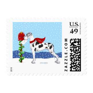 Great Dane Christmas Mail Harlequin UC Stamp