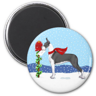Great Dane Christmas Mail Mantle 2 Inch Round Magnet