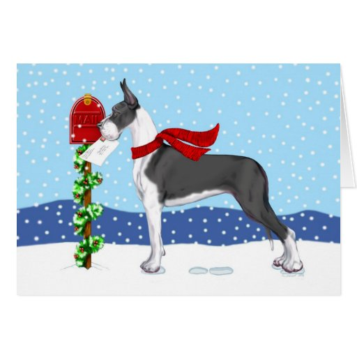 Great Dane Christmas Mail Mantle Card