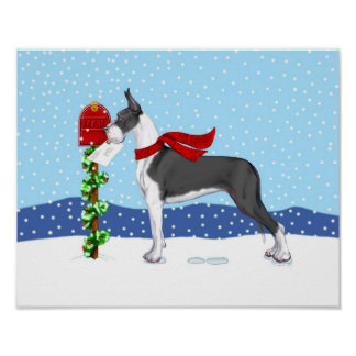 Great Dane Christmas Mail Mantle Poster