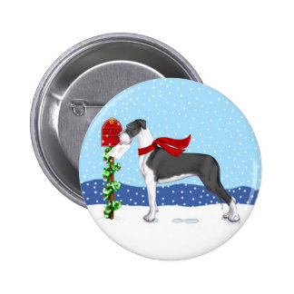 Great Dane Christmas Mail Mantle UC Button