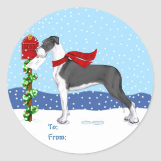 Great Dane Christmas Mail Mantle UC Gift Tags Classic Round Sticker