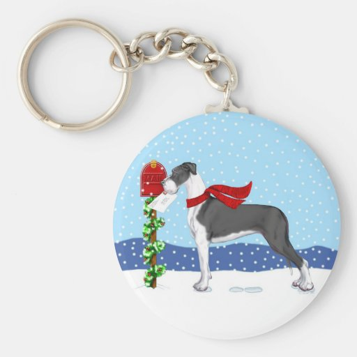 Great Dane Christmas Mail Mantle UC Basic Round Button Keychain