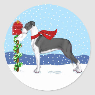 Great Dane Christmas Mail Mantle UC Round Stickers