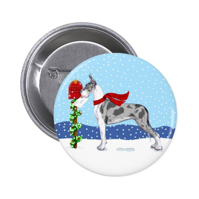 Great Dane Christmas Mail Merle Button