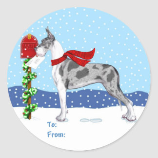Great Dane Christmas Mail Merle Gift Tags Round Stickers