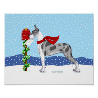Great Dane Christmas Mail Merle Poster