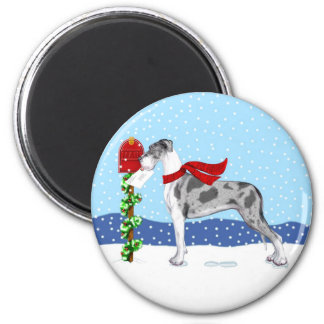 Great Dane Christmas Mail Merle UC 2 Inch Round Magnet