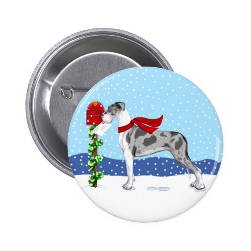 Great Dane Christmas Mail Merle UC 2 Inch Round Button