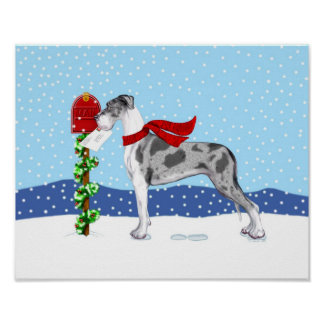 Great Dane Christmas Mail Merle UC Poster