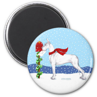 Great Dane Christmas Mail White 2 Inch Round Magnet