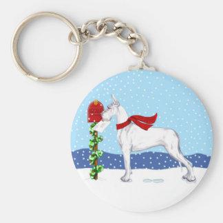 Great Dane Christmas Mail White Keychain